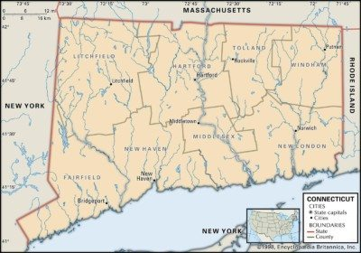 Map of Connecticut Counties