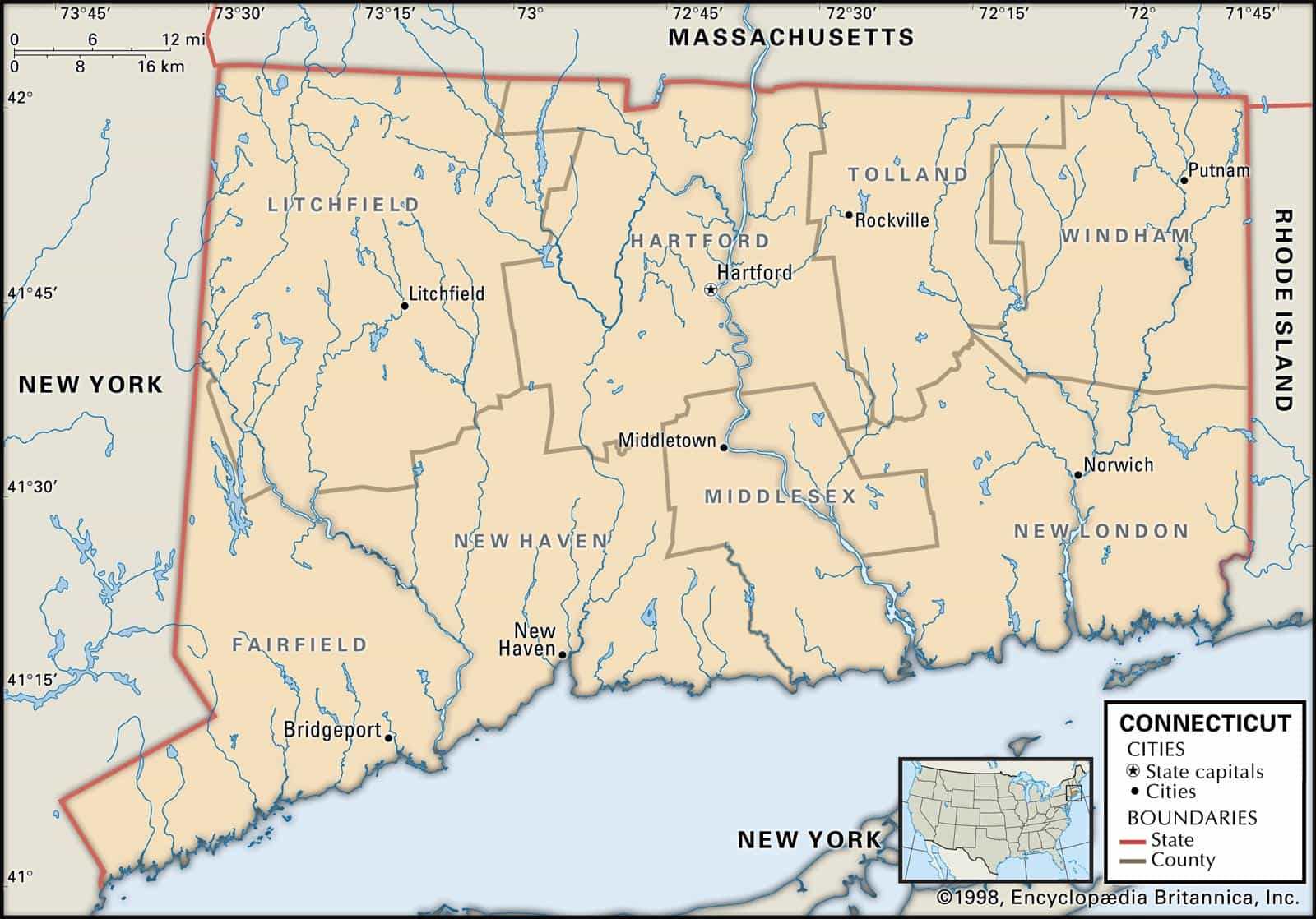 State of Connecticut Counties and Historical Facts