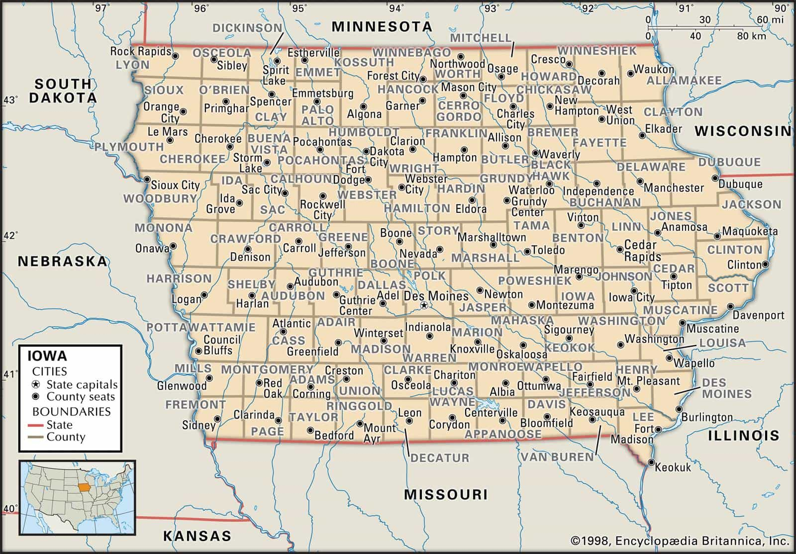 Garner Iowa Map.Historical Facts Of Iowa Counties