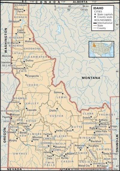 Idaho Map of Counties