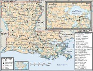 Louisiana Map of Parishes