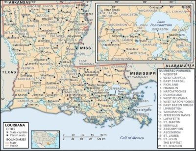 Louisiana Map of Parishes
