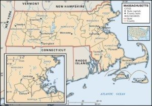 Map of Massachusetts Counties