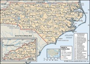 North Carolina Map of Counties