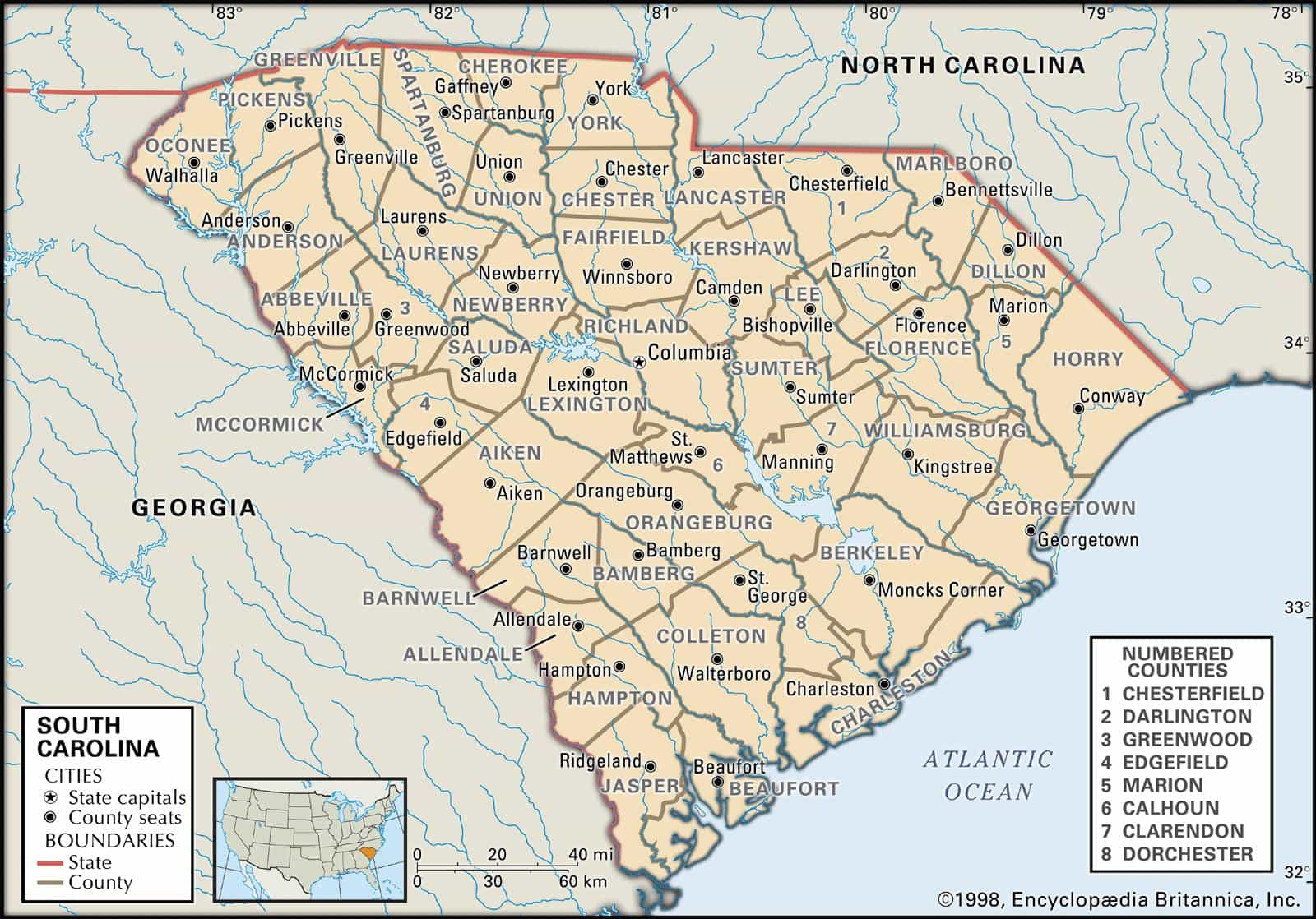Historical Facts of South Carolina Counties