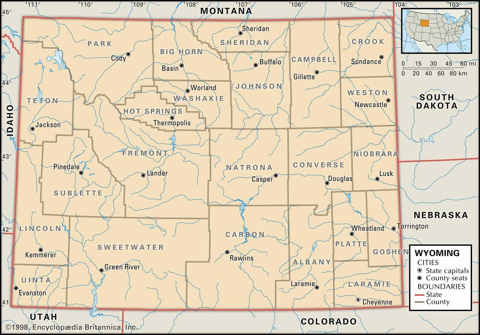 Lincoln County Wyoming Map.Historical Facts Of Wyoming Counties Guide