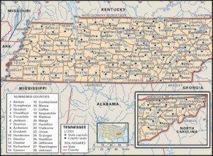 Tennessee Map of Counties