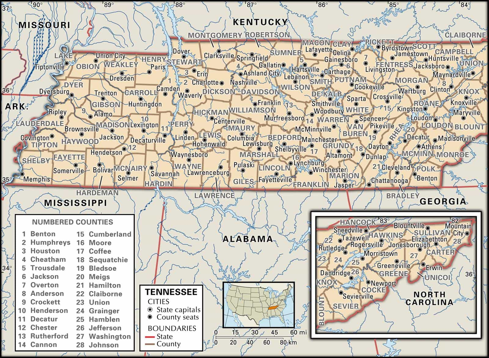 Knox County Tennessee Map.Historical Facts Of The State Of Tennessee Counties Guide