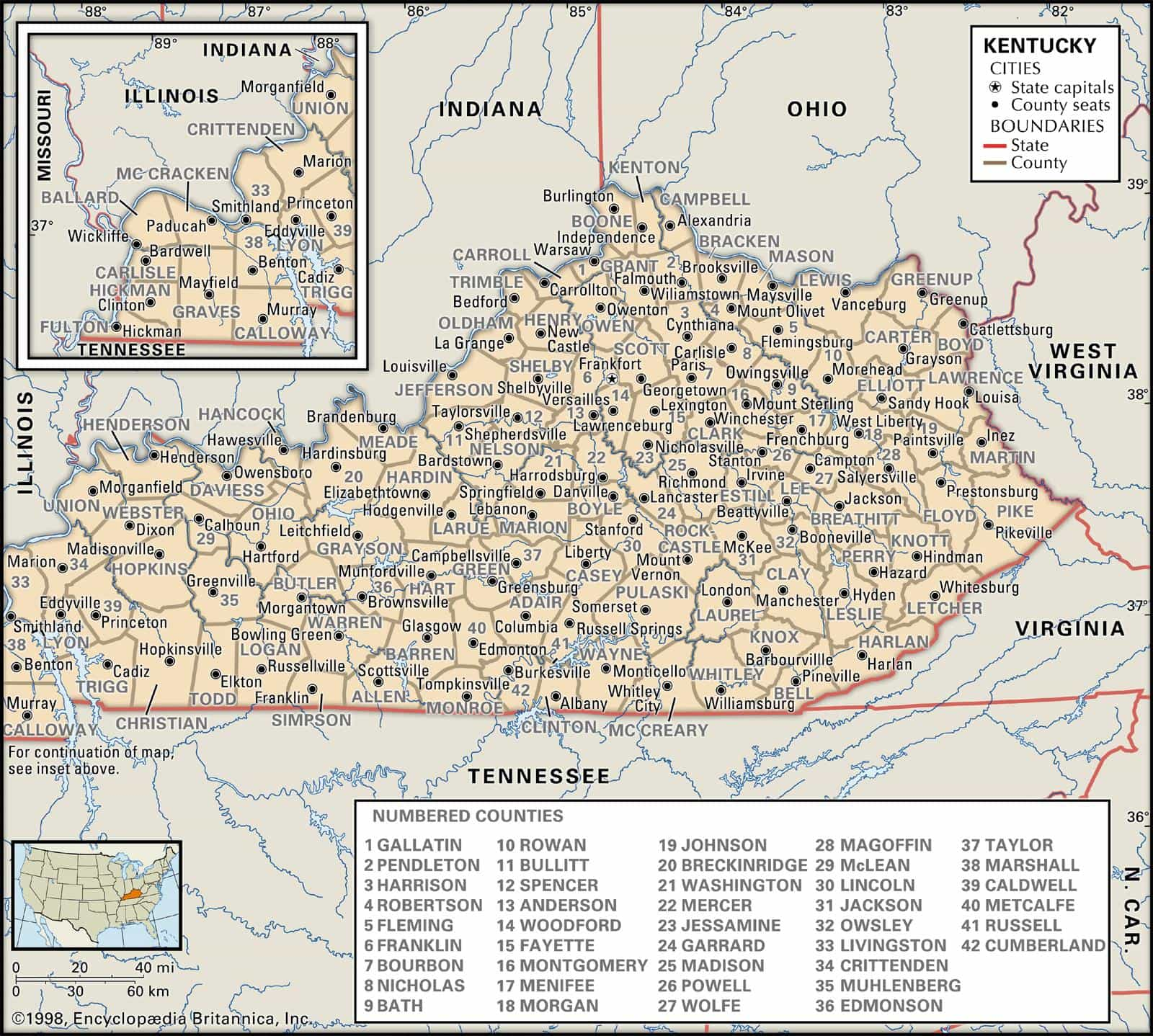 Historical Facts of Kentucky Counties