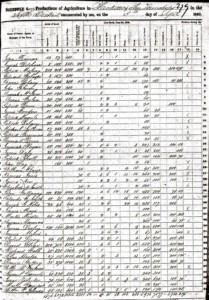 1850 US Agriculture Census Schedule of Jackson County Iowa